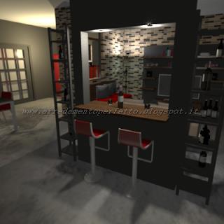 Il mobile bar separa ingresso e soggiorno loft in stile - Mobile bar soggiorno ...