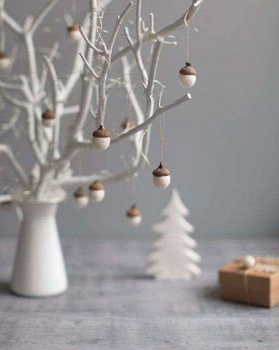 Gallery White Christmas ornaments   Felted acorn decorations   Set of 6 magic forest woodland party favors   Coworker gift idea   by Vaida Petreikis is free HD wallpaper.