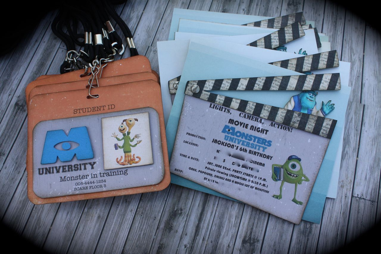 MONSTERS UNIVERSITY Invitation and ID tag set | Monsters ...