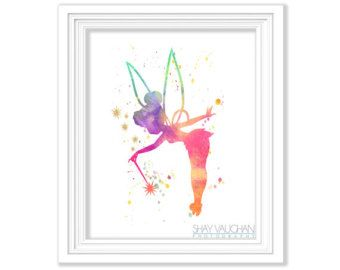 Tinkerbell Nursery Decor Tinkerbell Watercolor Painting