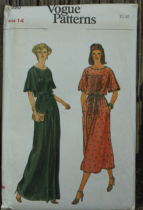 Vogue 7220 1970s 70s Blouson Pullover Midi Dress Vintage Sewing Pattern Size 14 Bust 36