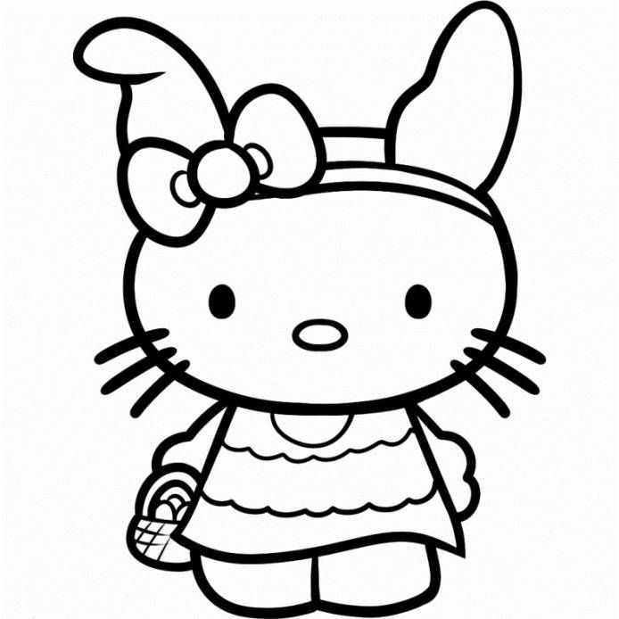 Hello Kitty Easter Bunny Coloring Page Easter Coloringpage