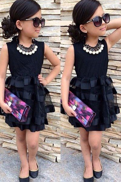 stylish sleeveless round neck spliced solid color dress for girls