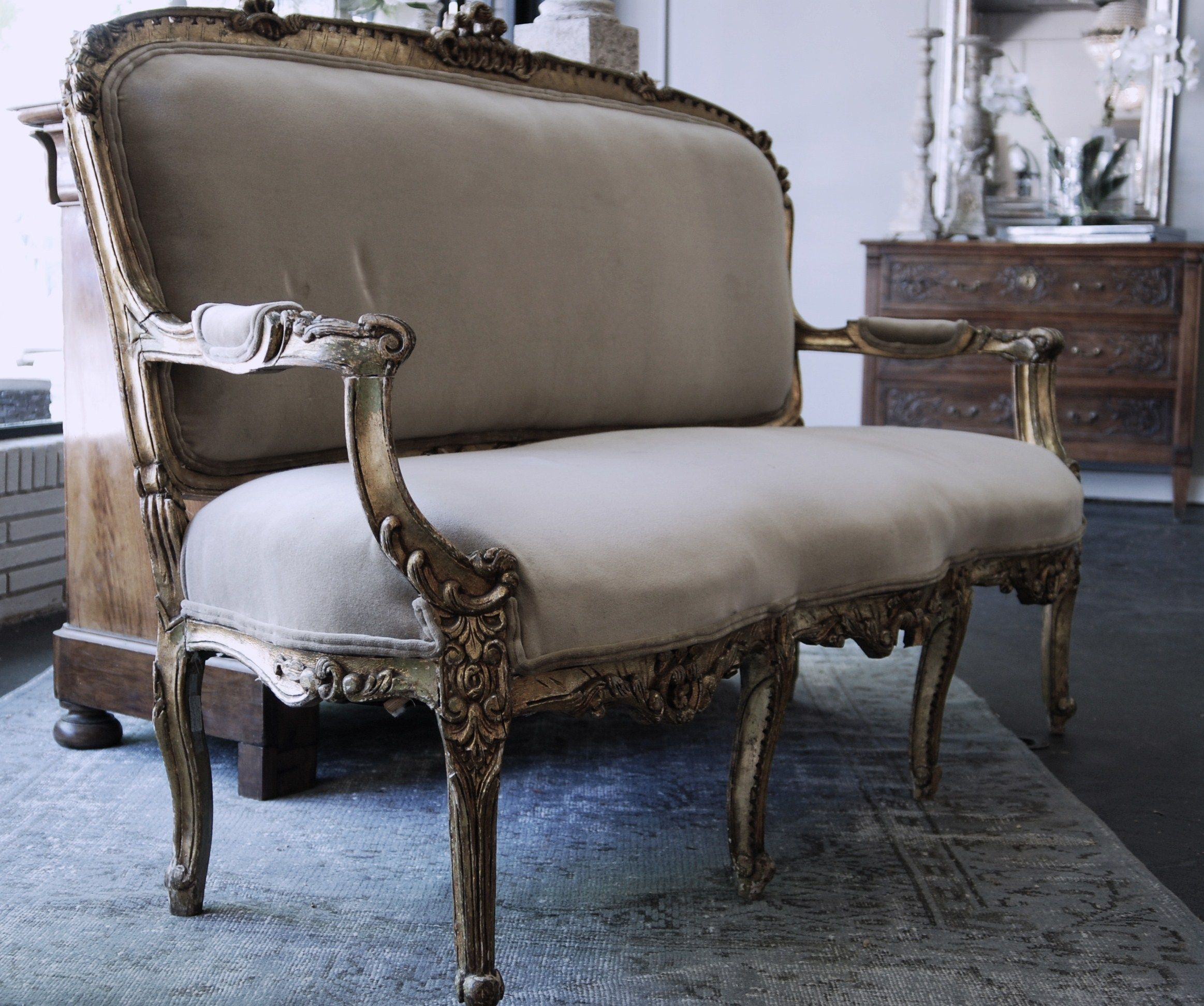 Antique upholstered chair styles - Antique French Gilt Sofa Postcard From Paris Home Photography By Engrid Latina