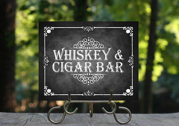 Printable Chalkboard Wedding Cigar Whiskey Sign Bar Alcohol Rustic C