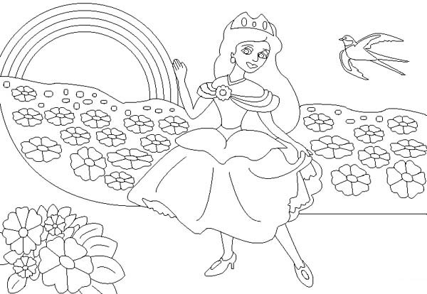 The Princess And The Rainbow Coloring Page Download Print Online Coloring Pages For Princess Coloring Pages Butterfly Coloring Page Pokemon Coloring Pages