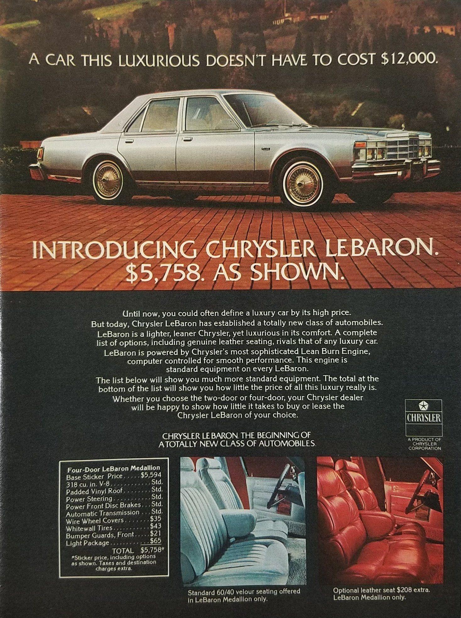 1977 Chrysler Lebaron Medallion Vintage Ad Chrysler Lebaron Chrysler Cars Chrysler