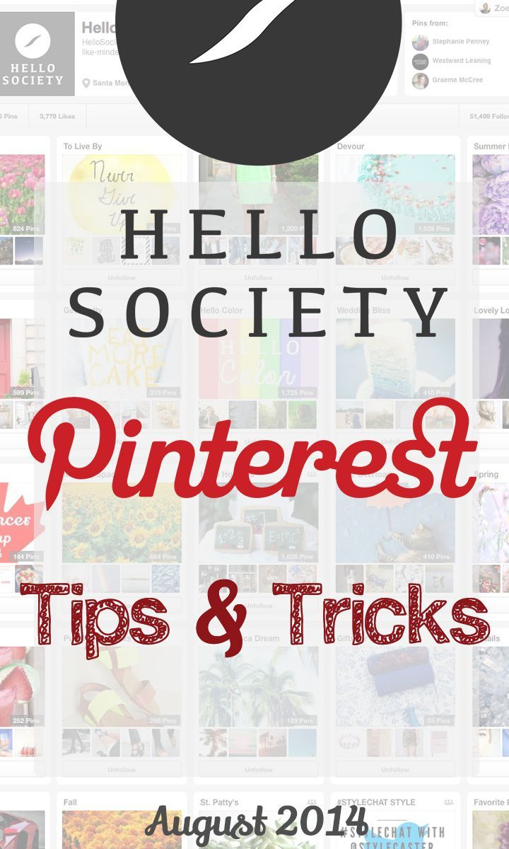 Perfect Pinterest Tips & Tricks! Great Post #HelloSociety Blog @HelloSocietyBlog  Discovered on magnanimous #PostPlanner Pinterest Marketing Board.  Thx for the  #Pinterest Tips @PostPlanner