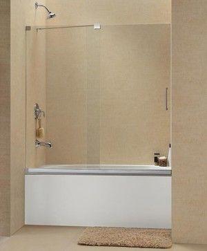 Frameless Glass Bathtub Doors With Glass Half Wall Dreamline Mirage Frameless Sliding Tub Doo With Images Tub Doors Frameless Sliding Shower Doors Frameless Shower Doors