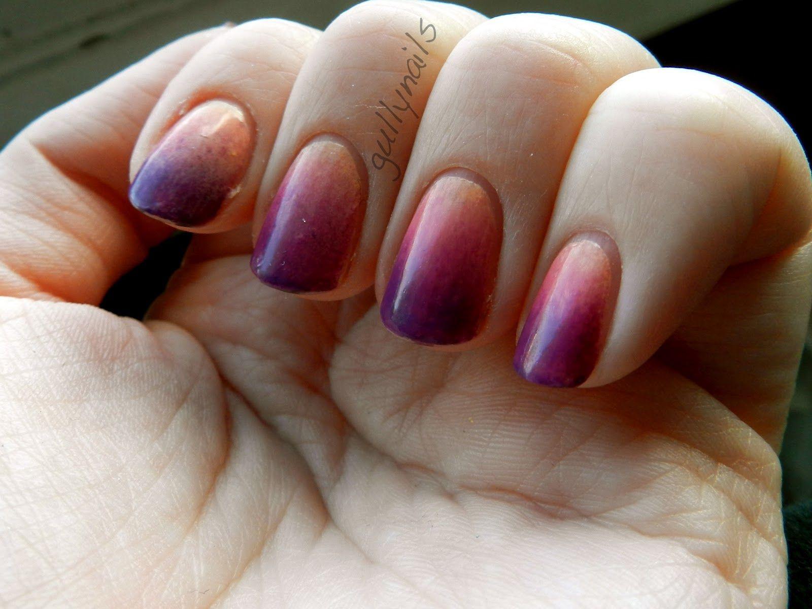 Sunset like nails. Peach basecoat and purple on a makeup sponge over ...