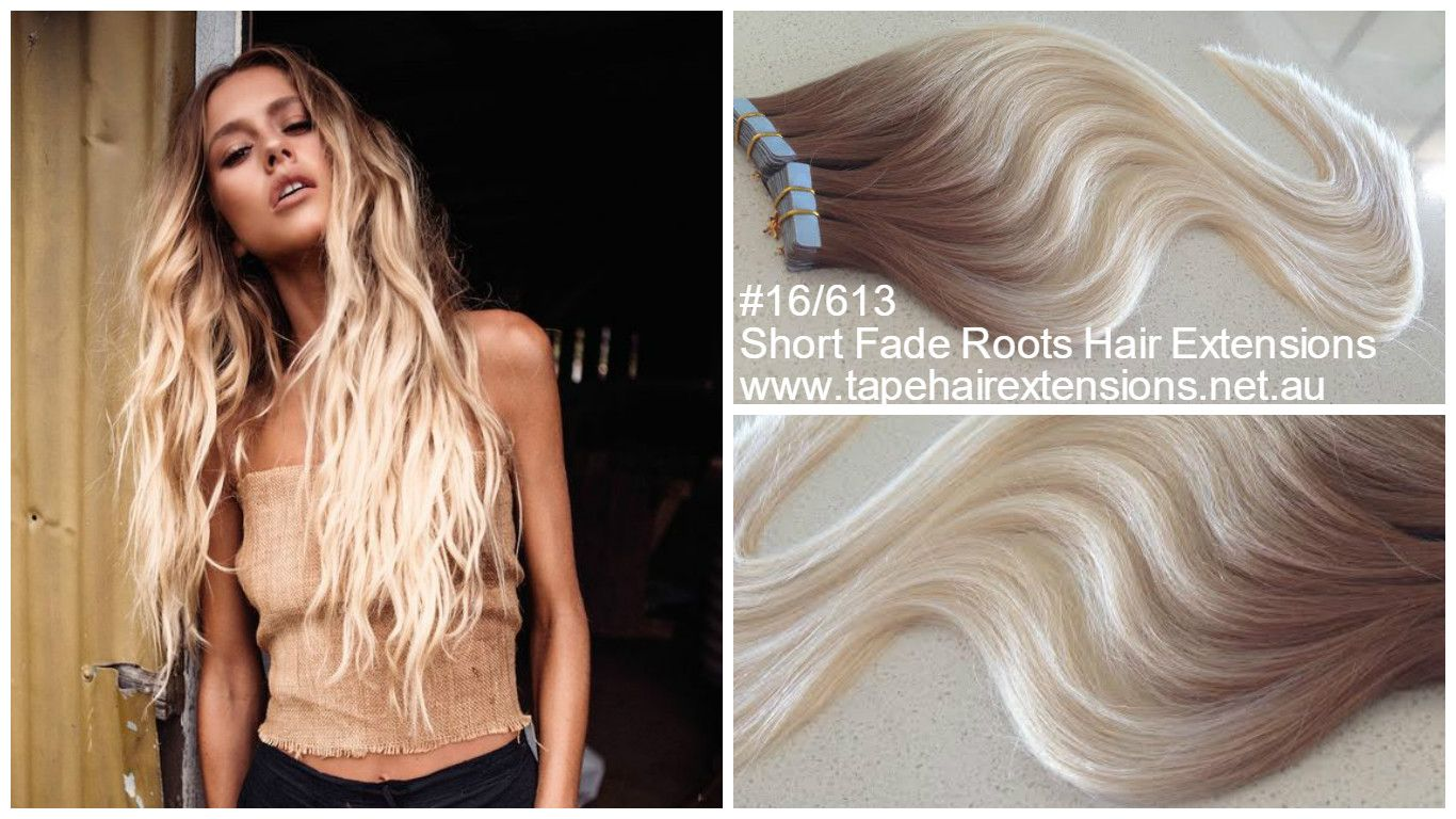 18613 Short Fade Roots Hair Extensions Ash Blonde To Light Blonde