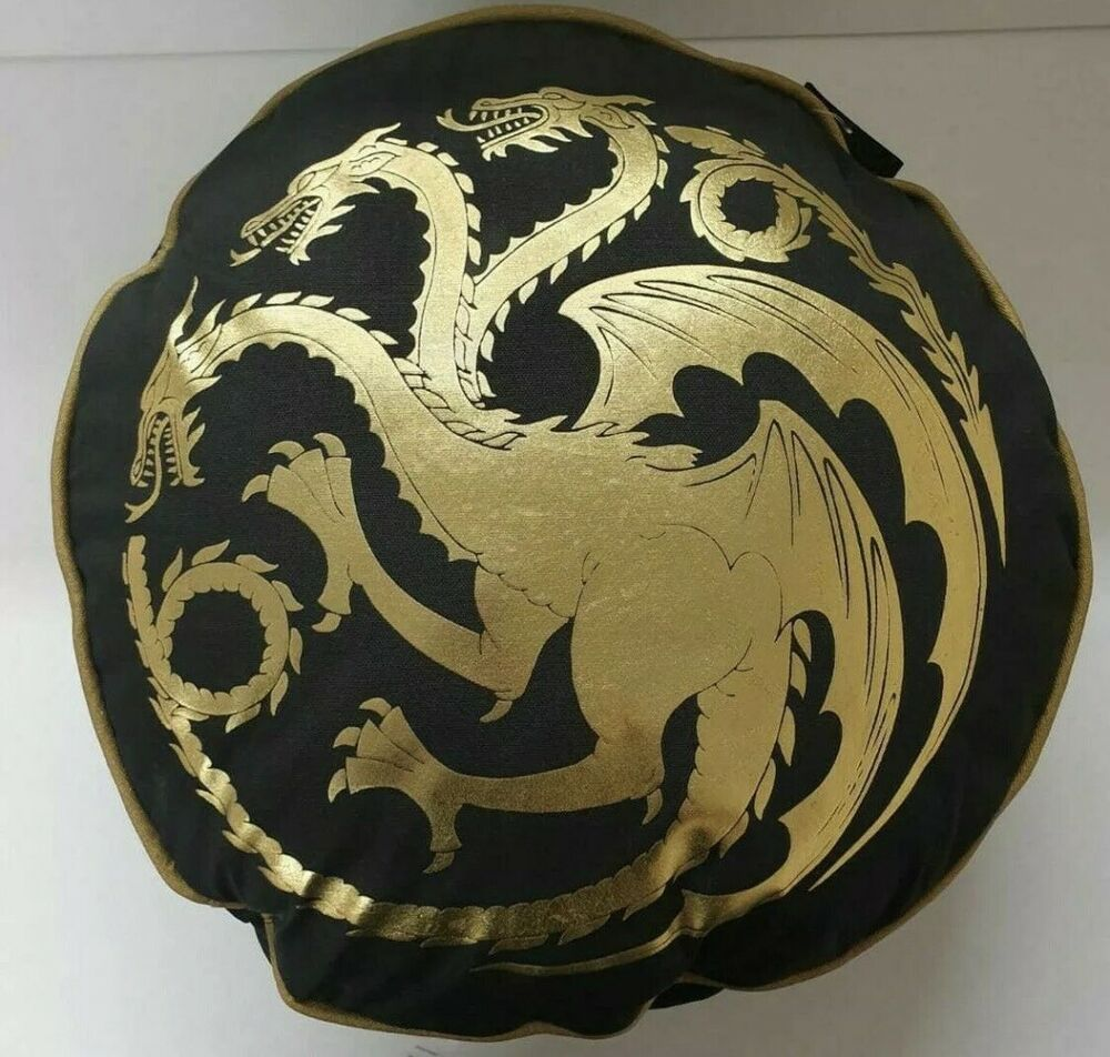 GOT GAME OF THRONES Black Round Pillow Cushion Targaryen Dragon - Offcial HBO #P...