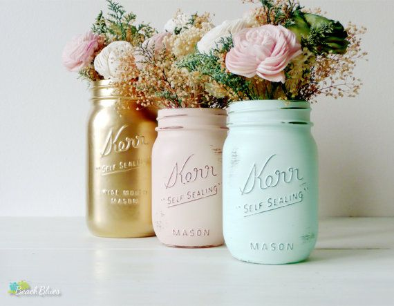 Mason Jar Wedding Decor Centerpiece Vase Table Decor Mint Peach Blush Gold  Rustic Home Decor