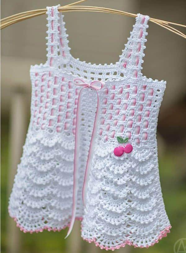 patrones de vestidos de bebe tejidos a crochet gratis | Petos ...