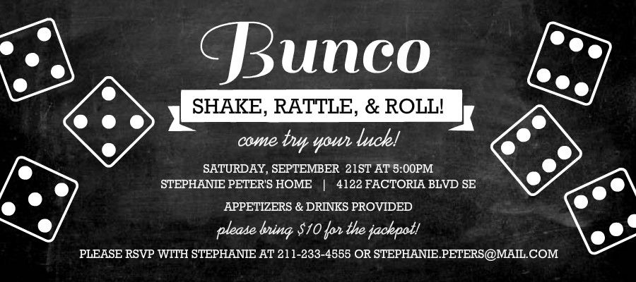 Bunco Chalkboard Theme Bunco Party Pinterest Invitaii