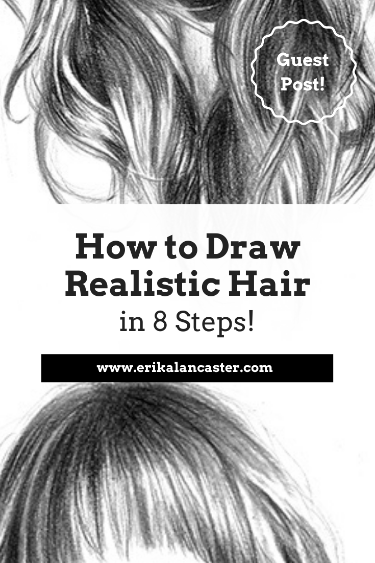 How to Draw Realistic Hair in 8 Steps- Step by step instructions for beginners with lots of explanatory images!  #howtodrawhair #howtodrawhairstepbystepeasy #realistichairdrawingstepbystep #howtodrawrealisticfaces #howtodrawrealistichair #drawingportraits