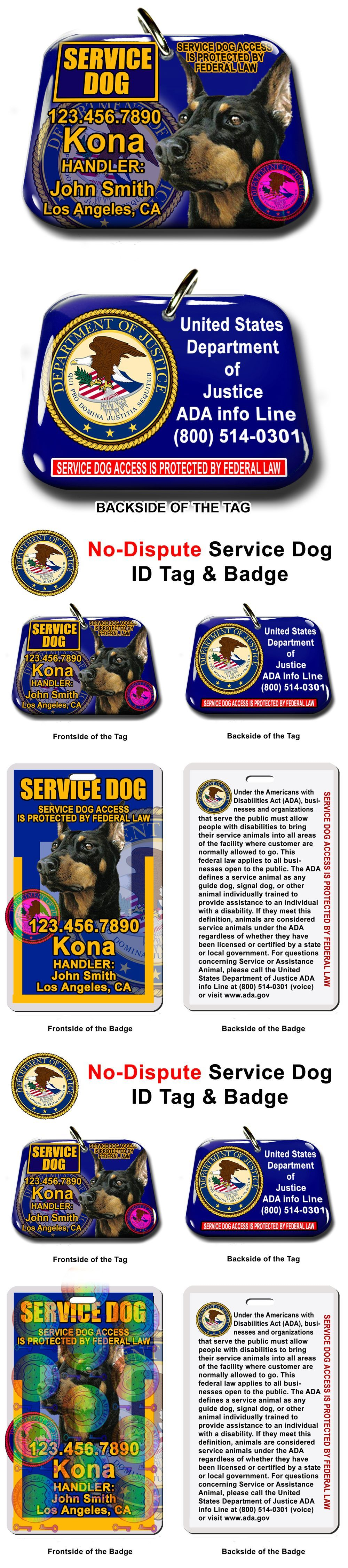 Tags and Charms 177790: Service Dog Id Tag Id Card Custom Pet Tag Ada With Your Dog Info Small Or Big -> BUY IT NOW ONLY: $34.95 on eBay!
