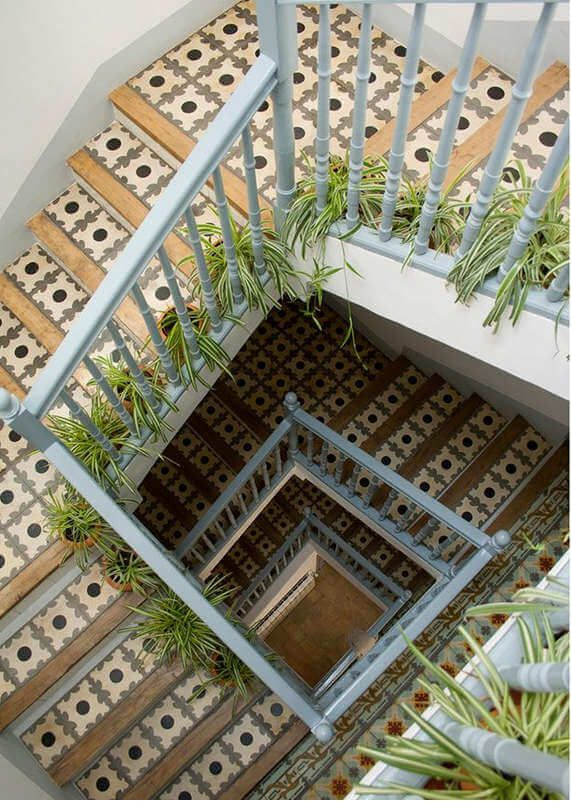 Best Tiled Stairwell With Spider Plants Staircase Pictures 400 x 300