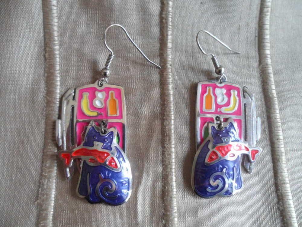 Vintage Pair Of Edgar Berebi Enamel Cat Earrings Edgarberebi