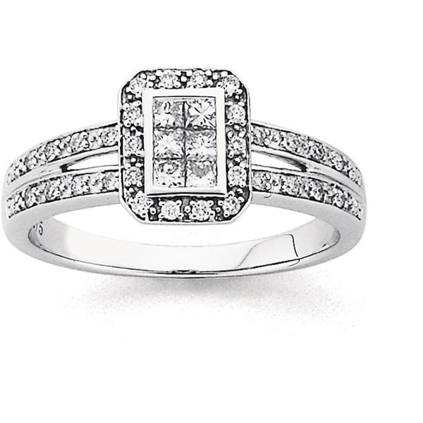 9ct White Gold Diamond Invisible Set Engagement Ring