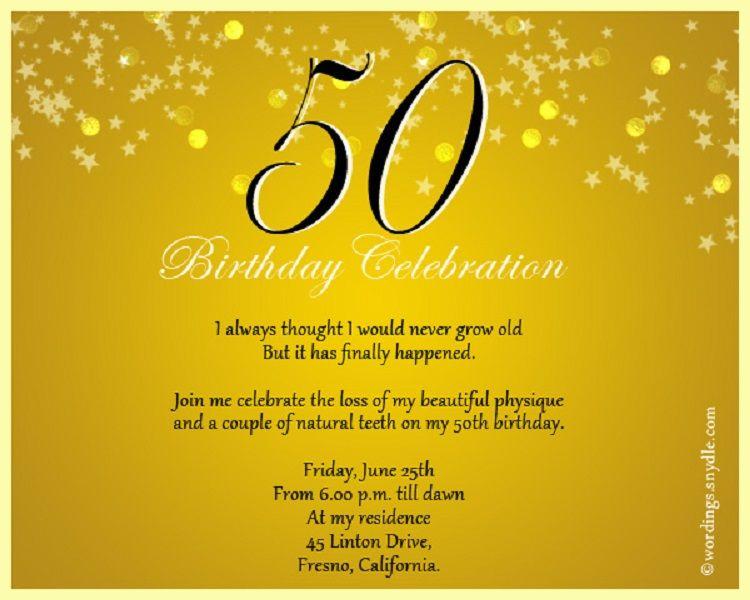 Gold Birthday Invitation Card Format In English Birthday Party Invitation Wording 50th Birthday Party Invitations Birthday Invitations