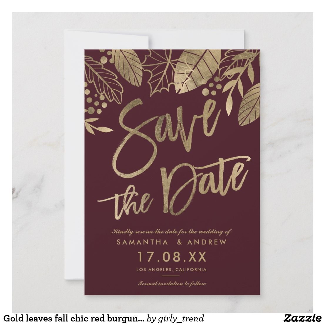Gold leaves fall chic red burgundy save the date   Wedding ...