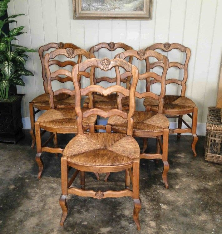Antique French Dining Chairs Carved Oak Ladder Back Country Rush Seats  Shell One of our most popular items. - Antique+French+Country+Dining+Chairs+With+Carved+Oak+And+Rush+Seats