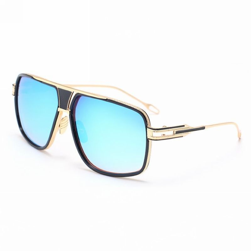Celebrity Flat Top Square Pilot Sunglasses Gold Black Frame Mirror Blue Lens 3302ed632f4