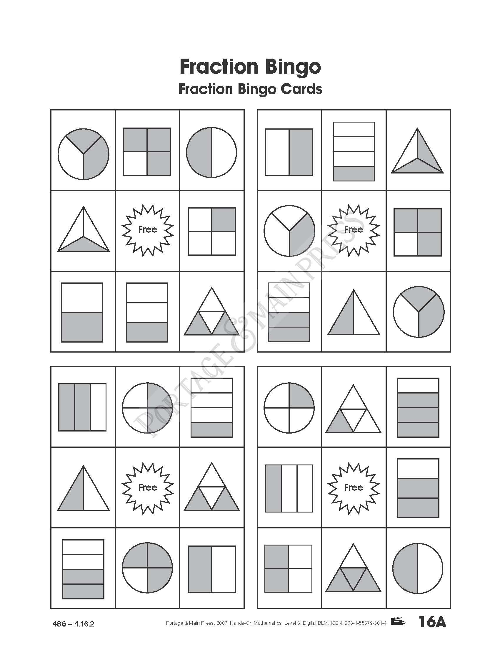 awesome math game students will love grade 3 math fraction bingo math pinterest math. Black Bedroom Furniture Sets. Home Design Ideas