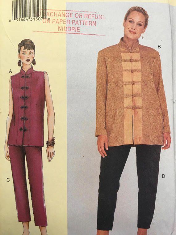 Vogue 60 Sewing Pattern Misses Ladies Top Pants Size D E F Uncut Inspiration Pattern Def