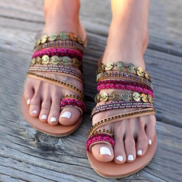 8b5b77e413f9 Women Shoes Comfortable Rome Beach Flat Sandals fringues