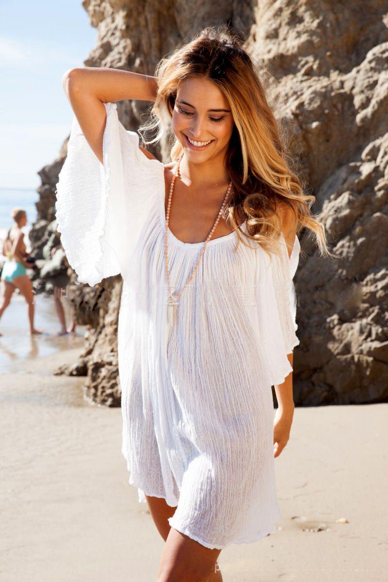 48b831dbb5b6f $19.77 - Awesome New Woman Beach Dress swimwear cover up Sexy Swimwear  Summer White Beach Cover up Dress Swimsuit Katfan Tunic Hotsale - Buy it  Now!