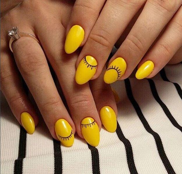 Cute And Artsy Yellow Nail Polish Inspirations For Thanksgiving