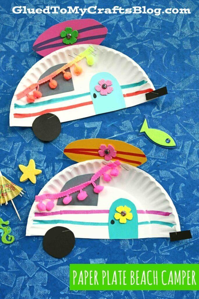 Paper Plate Beach Camper - Summer Kid Craft Idea