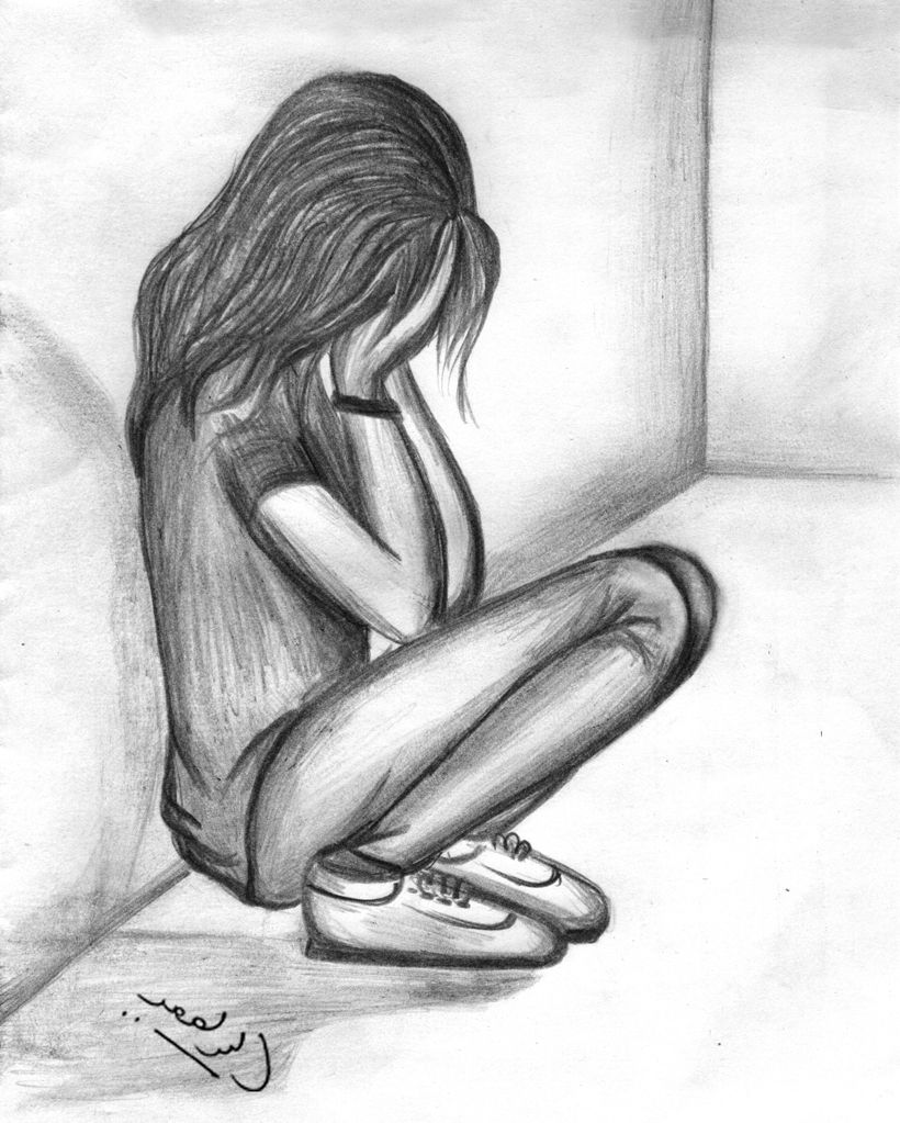 Simple pencil sketches of lonely sad girl