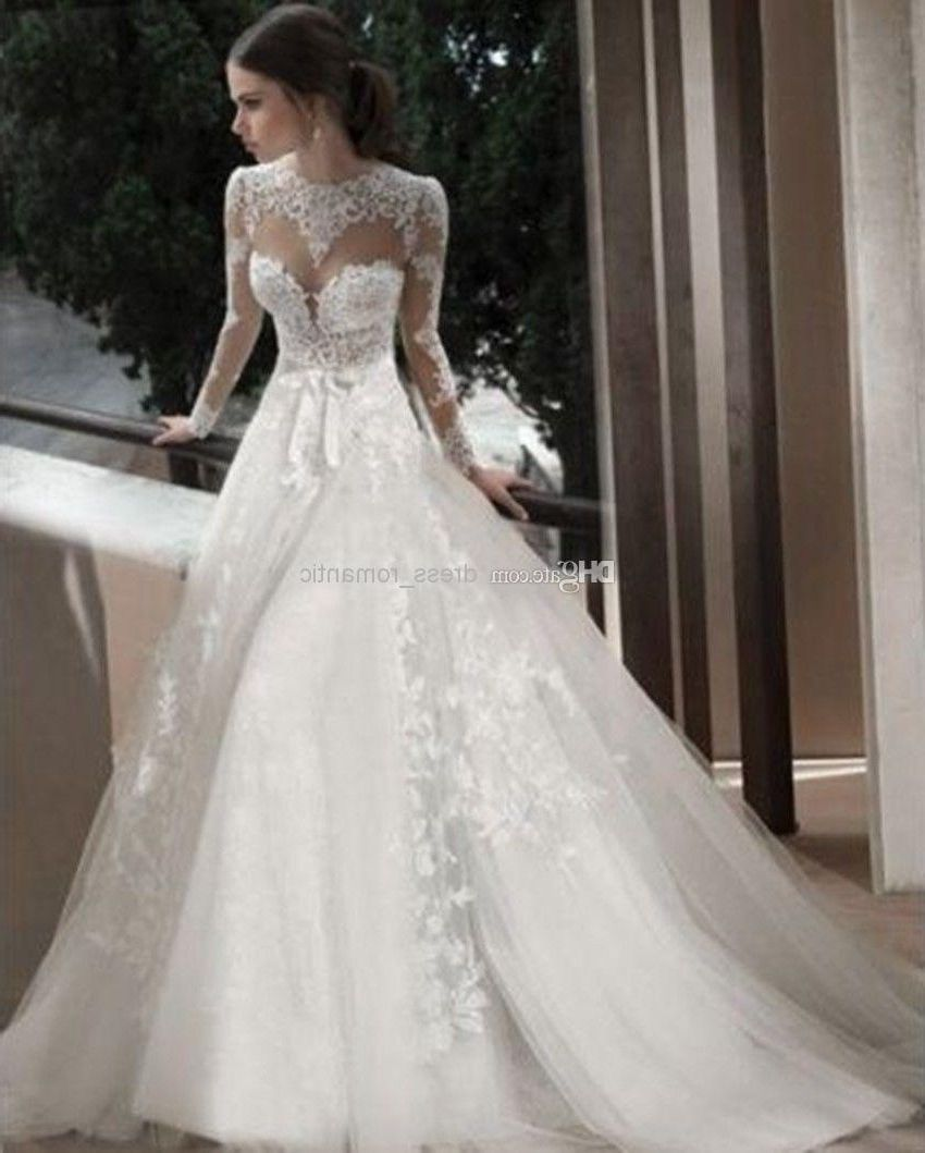 Long Sleeve Turtleneck Lace Wedding Dress
