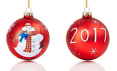 Holiday Lane Red Glass Ball With Snowman 2017 Ornament, Created for Macy's - Holiday Lane Red Glass Ball With Snowman 2017 Ornament, Created For