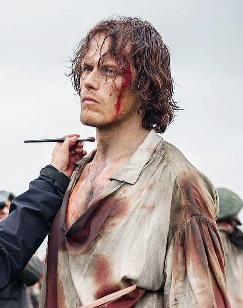 Sam Heughan filming Outlander