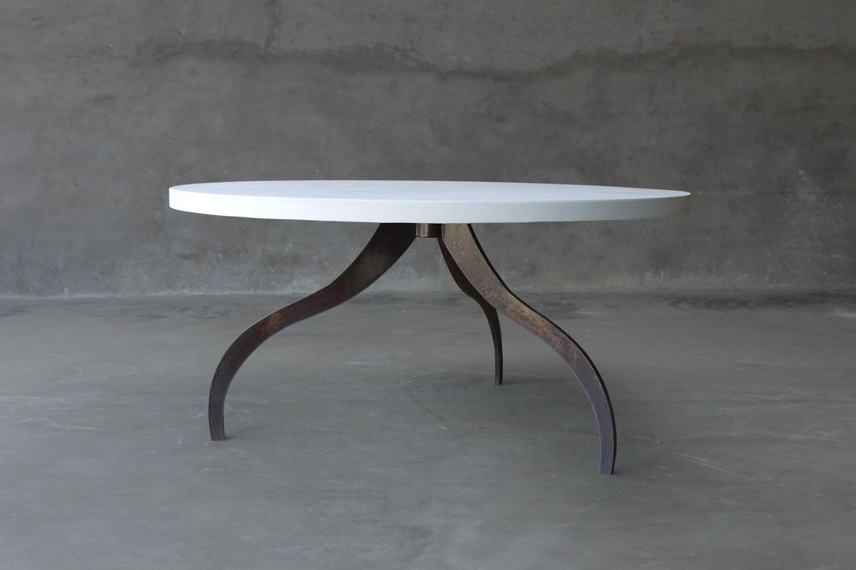 Round Concrete Dining Table With Tripod Metal Base Available In Natural,  White Or Charcoal Concrete