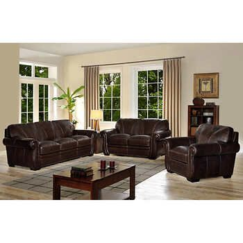 Holston 3 Piece Top Grain Leather Living Room Set