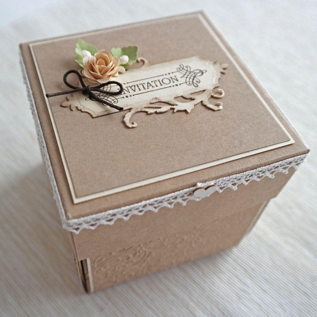 Vintage inviti matrimonio, matrimonio Shabby Chic che esplode scatola, invito a nozze nel verde, contenitore di invito carta Kraft, Boxed invito di nozze