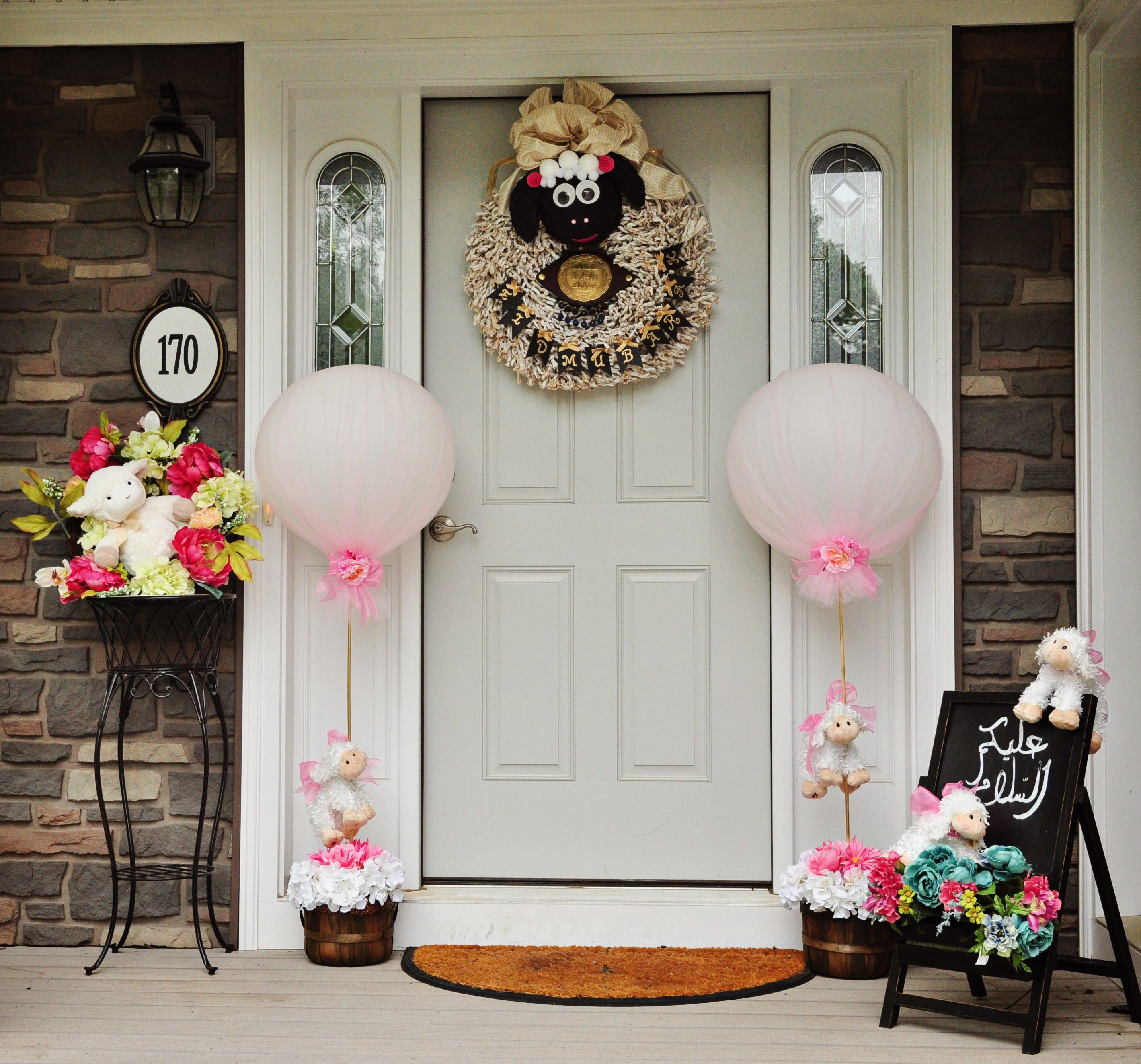 Eid Al Adha Decorations #Eid Al Adha #Wreath #Sheep #Door