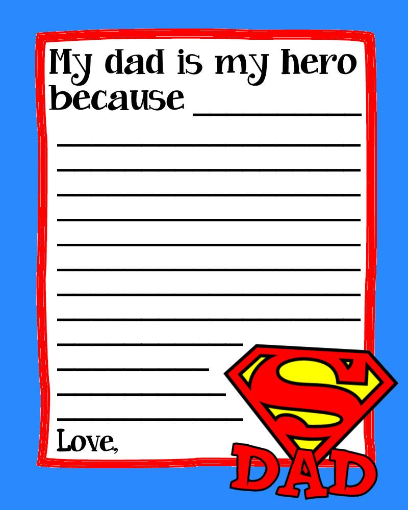 passive program father 39 s day printable my dad is my hero because passive programs. Black Bedroom Furniture Sets. Home Design Ideas
