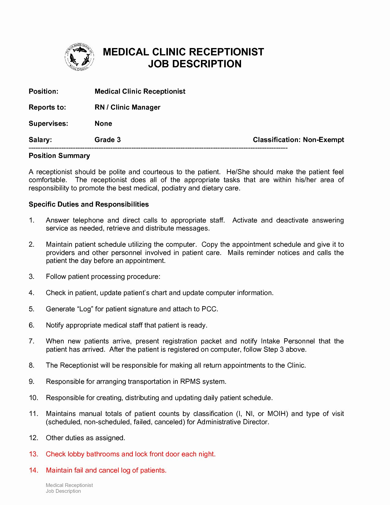 Hotel Front Desk Job Description Resume Lovely 10 Example Resume Receptionist Job Descriptio Receptionist Jobs Office Assistant Job Description Job Description