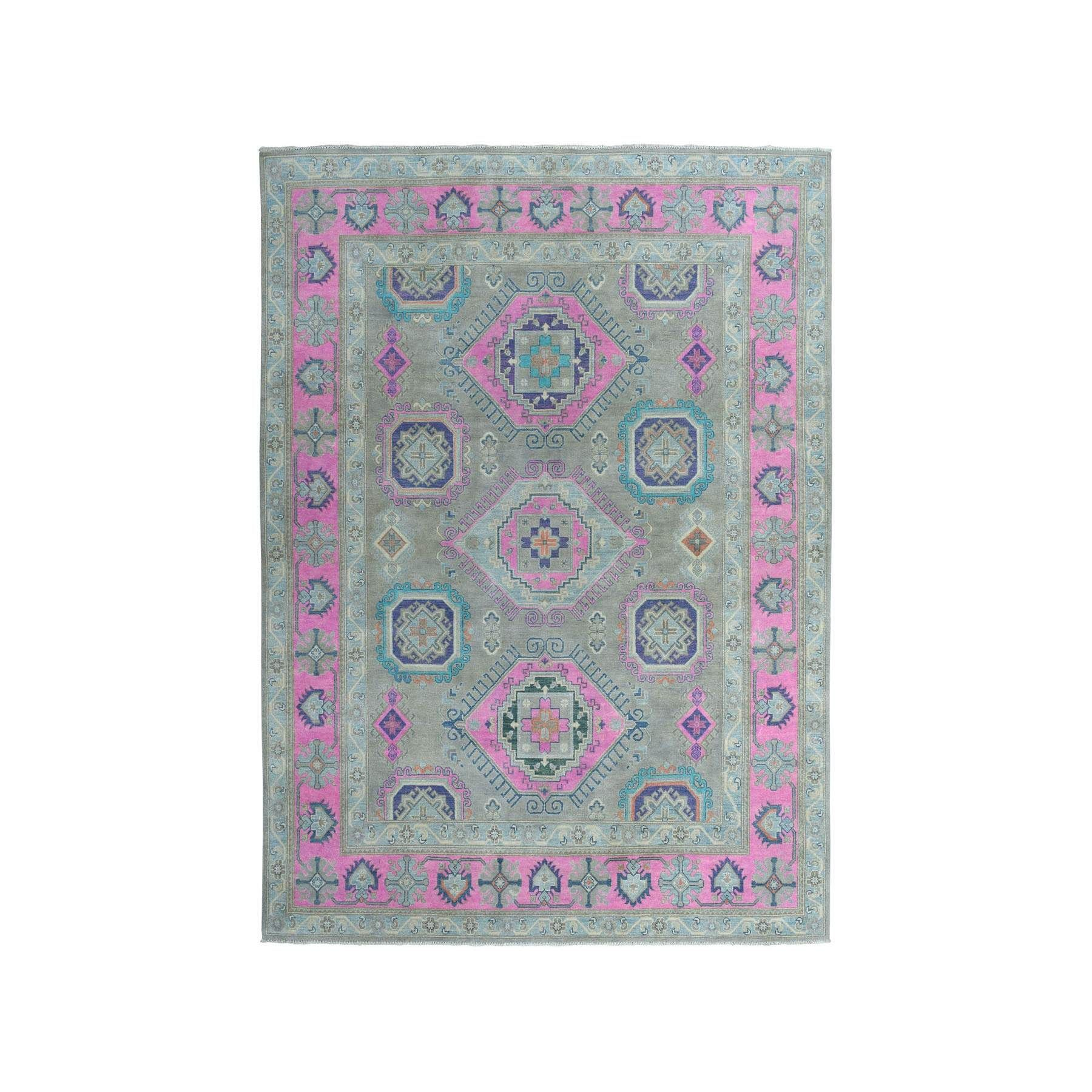 Colorful Fusion Kazak Geometric Design Pure Wool Hand Knotted Oriental Rug 252770 Oriental Rug Woven Rug Rugs