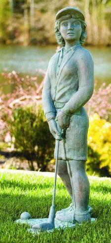 Nostalgic Golfer Woman Garden Sculpture 37 High