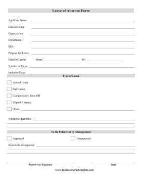 Leave Of Absence Form Template Medical Leave Application Leave Template Data Form