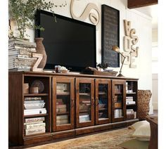 Traditional Wooden Tv Wall Unit Printer S Large Media Suite Potterybarn Like This
