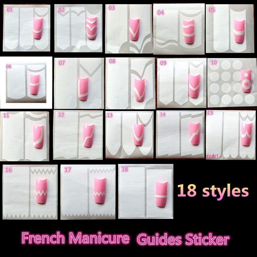 18Pieces Nail Decoration Nail Art Tips Nail Sticker Nail Art Form ...