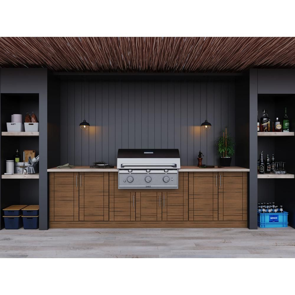 Weatherstrong Sanibel Teak 17 Piece 121 25 In X 34 5 In X 28 In Outdoor Kitchen Cabinet Set Wse120wm Stk The Home Depot Outdoor Kitchen Cabinets Modular Outdoor Kitchens Kitchen Set Cabinet